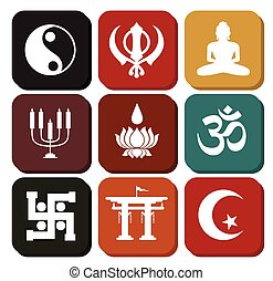 Vintage Set of Religious Symbols Vector Illustration