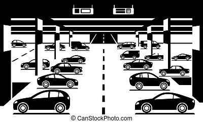 Underground car parking - vector illustration