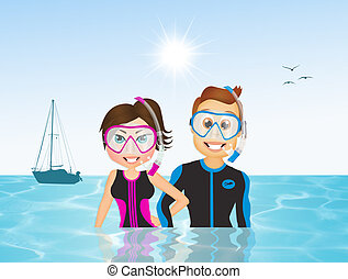 man and woman scuba diving - illustration of man and woman...