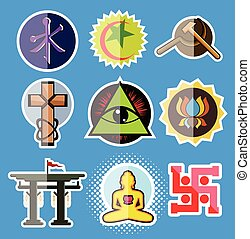 Set of Spiritual Religious Symbols Vector Illustration