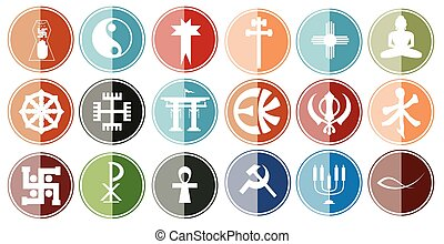 Glossy Icon Set of Religious Symbols Vector Illustration