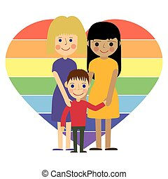 Gay family with kid flat vector illustration. - Gay family....