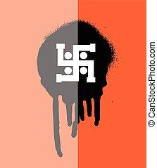 Swastik Symbol Grunge Banner Vector Graphic