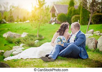 新郎, 浪漫, 夫婦, 結婚, 新娘, 傍晚, 親吻, 草