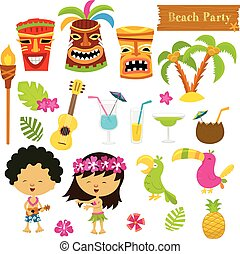 Hawaiian Set - Collection of cute Hawaiian elements.