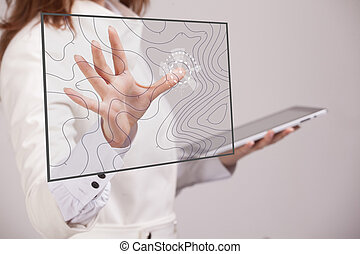 Geographic information systems concept, woman scientist...