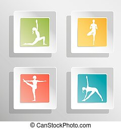 Square buttons with yogi - Vector yoga illustration Square...