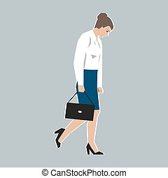 Worker, woman, was fired - Vector illustration Worker,...
