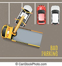 Bad Parking Top View Background Tow Truck Vector...