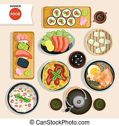 Japanese Food Top View Set Japanese Food Vector Illustration...