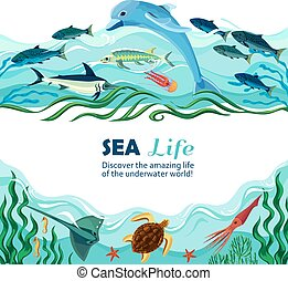Sea Underwater Life Cartoon Illustration - Cartoon vector...