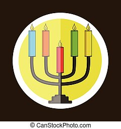 Colorful Hanukkah Symbol Sticker Vector Illustration