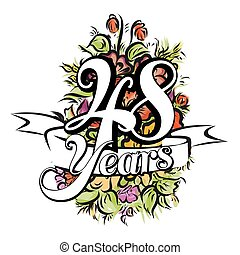 48 Years Greeting Card Design - 48 Years with nice bouquet...