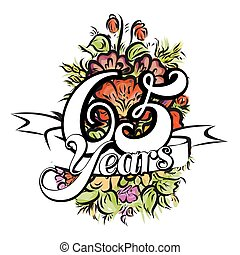 65 Years Greeting Card Design - 65 Years with nice bouquet...