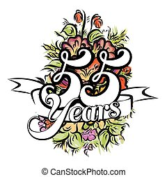 55 Years Greeting Card Design - 55 Years with nice bouquet...