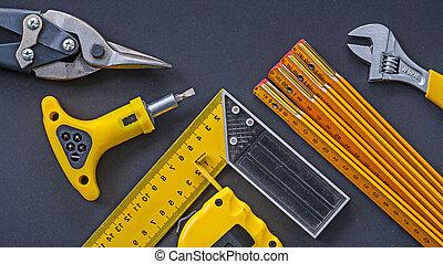 工具, 建設, 集合, 黑色, 背景