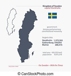 sweden - Kingdom of Sweden isolated maps and official flag...