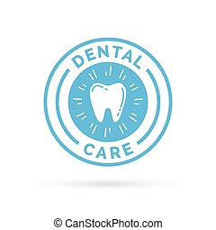 Dental care sign badge with blue healthy tooth stamp icon.
