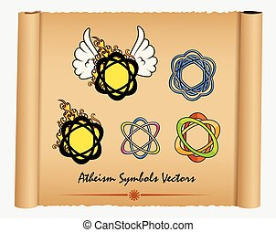 Variety of Atheism Symbols Vector Illustration