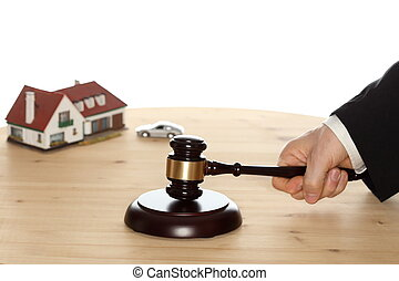 car and house and gavel