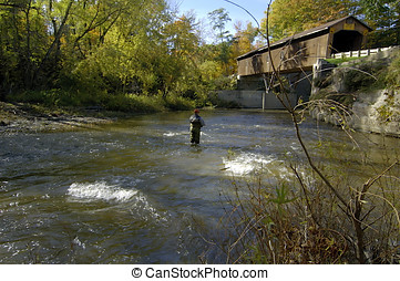 Shallow Stream Fishing - Fisherman fishes in the middle of a...