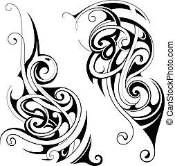 Maori style tattoo set - Set of decorative tattoo ornaments...