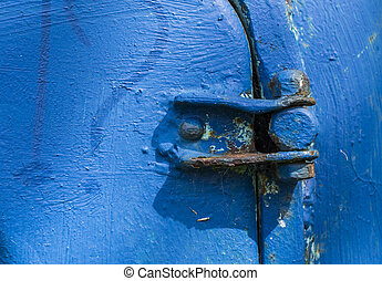 Blue door hinge - Old blue door hinge