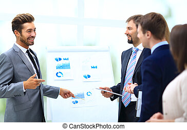 Business team discussing acquisition in meeting - business,...