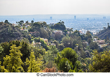 Aerial view of Los angeles city from Runyon Canyon park...