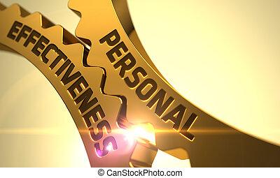 Personal Effectiveness Concept Golden Cogwheels - Personal...