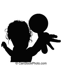 child play with toy silhouette illustration