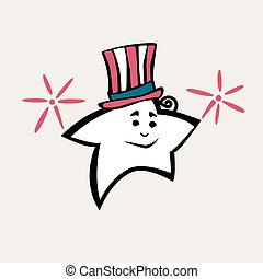 July 4 Star in striped top hat - Vector July 4 Star in...
