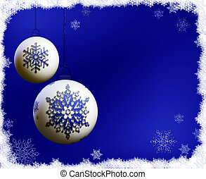 Christmas bulbs on blue background with snowflakes