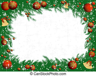 Christmas decorated pine tree branches frame - Decorated...