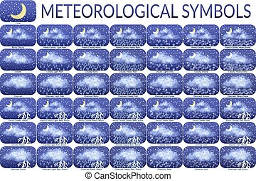 Meteorological Symbols, Set - Set of Different Weather...