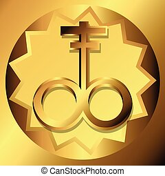Satanic Cross Golden Symbols Vector Illustration