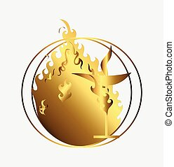 Bright Golden Flaming Chalice Art Vector Illustration