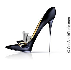 black shoe with bow - white background and the black ladys...