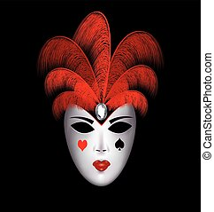 black-white mask with red feathers - dark background and the...
