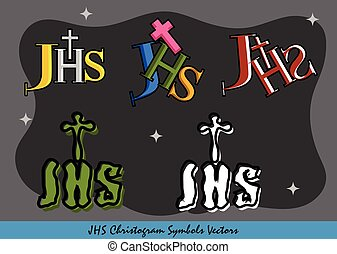 JHS Christogram Religious Symbols - Set of JHS Christogram...