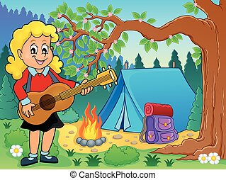 Girl guitar player in campsite theme 2