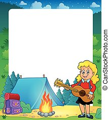 Summer frame with girl guitar player