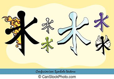 Set of Various Confucianism Symbols Vector Illustration