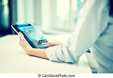 close up of woman hands with tablet pc at office - business,...
