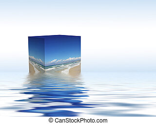 box floating on the water