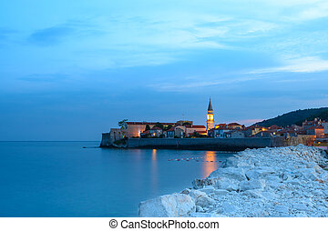 Mistery Evening in Old Town of Budva Montenegro, Balkans,...
