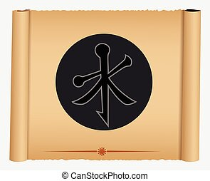 Confucianism Symbol on Parchment Banner Vector Illustration
