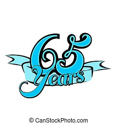 65 Years Badge Cover Title Design, Vector Outline Artwork