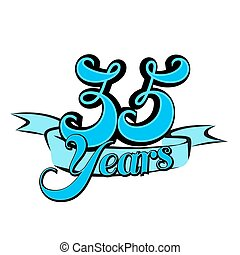 35 Years Badge Cover Title Design, Vector Outline Artwork