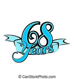 68 Years Badge Cover Title Design, Vector Outline Artwork